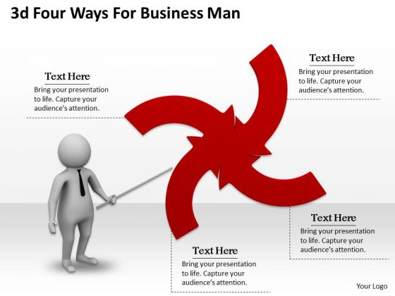 Internet Business Strategy 3d Four Ways For Man Characters