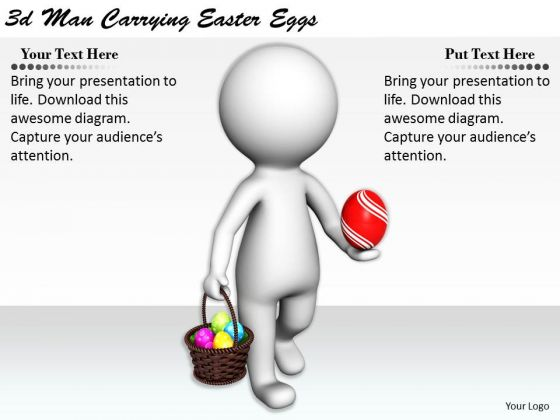 Internet Business Strategy 3d Man Carrying Easter Eggs Basic Concepts