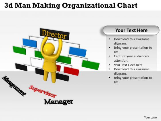 Internet Business Strategy 3d Man Making Organizational Chart Concept