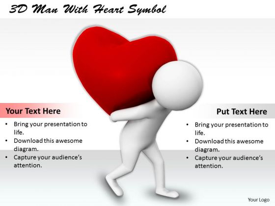 Internet Business Strategy 3d Man With Heart Symbol Adaptable Concepts