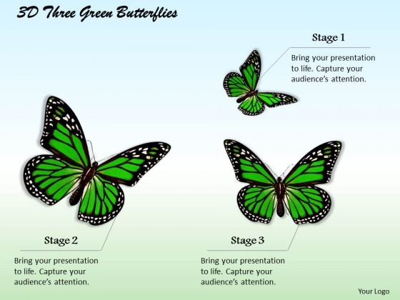 Internet Business Strategy 3d Three Green Butterflies Photos
