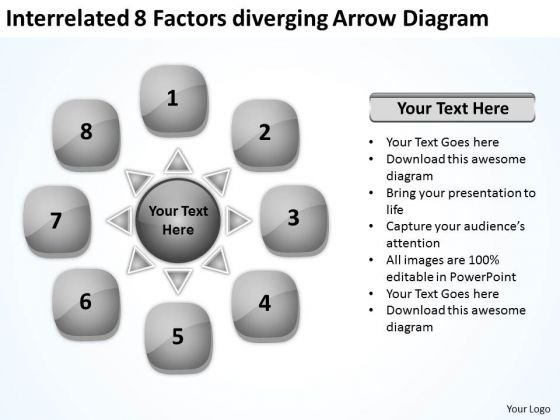 Interrelated 8 Factors Diverging Arrow Diagram Circular Flow Network PowerPoint Slides