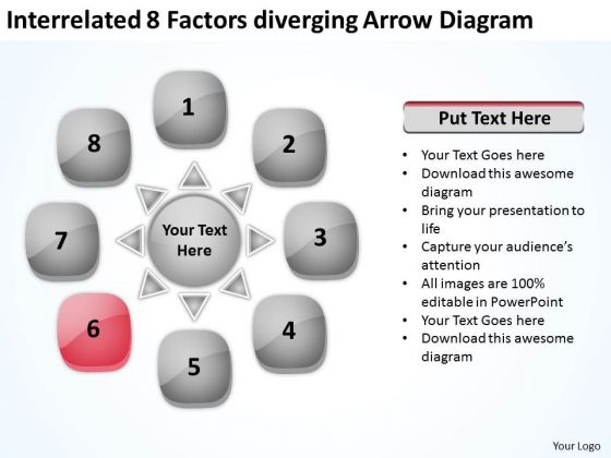 Interrelated 8 Factors Diverging Arrow Diagram Cycle Flow PowerPoint Templates