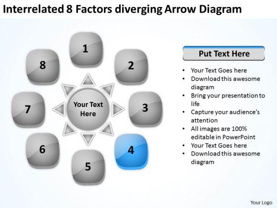 Interrelated 8 Factors Diverging Arrow Diagram Cycle Spoke Network PowerPoint Slides