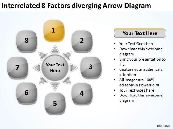 Interrelated 8 Factors Diverging Arrow Diagram Cycle Spoke PowerPoint Slides
