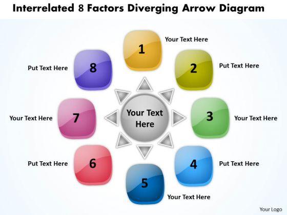 Interrelated 8 Factors Diverging Arrow Diagram Pie Network PowerPoint Templates