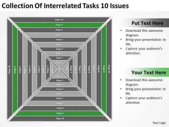 Interrelated Tasks 10 Issues Ppt Business Plan Template PowerPoint Templates
