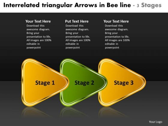 Interrelated Triangular Arrows Bee Line 3 Stages Customer Tech Support PowerPoint Slides