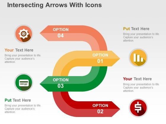 Intersecting Arrows With Icons PowerPoint Template