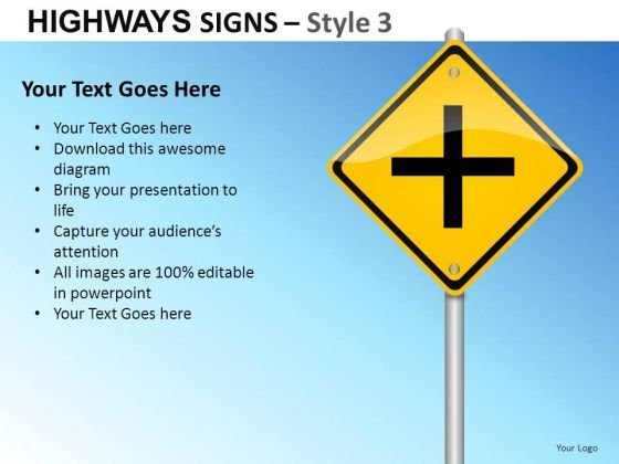 Intersection Highways Signs 3 PowerPoint Slides And Ppt Diagram Templates