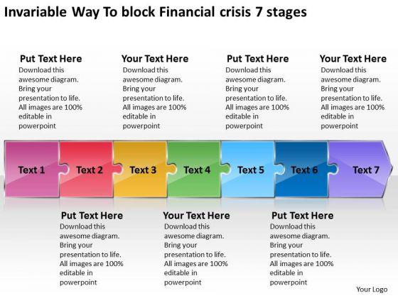 Invariable Way To Block Financial Crisis 7 Stages Flow Chart Production PowerPoint Templates