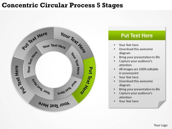 It Business Strategy Concentric Circular Process 5 Stages Formulation