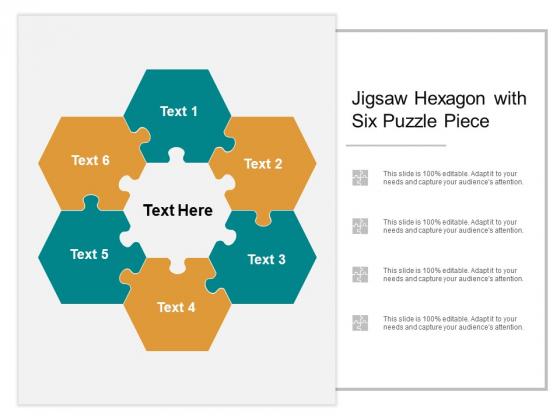 Jigsaw Hexagon With Six Puzzle Piece Ppt PowerPoint Presentation Portfolio Deck