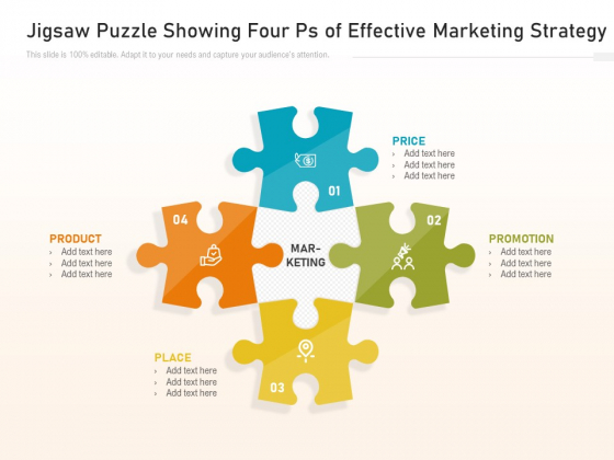 Jigsaw Puzzle Showing Four Ps Of Effective Marketing Strategy Ppt PowerPoint Presentation File Slideshow PDF