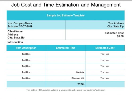Job Cost And Time Estimation And Management Ppt PowerPoint Presentation Summary Slide Download
