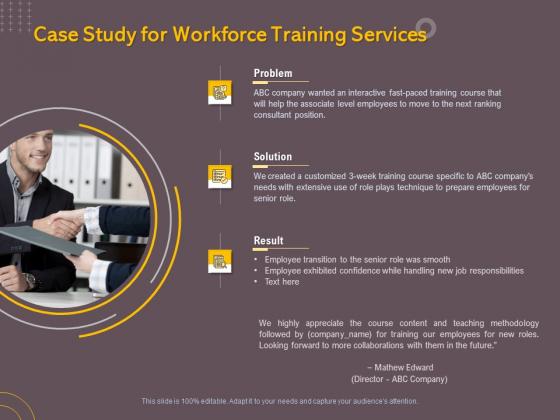 Job Driven Training Case Study For Workforce Training Services Ppt Portfolio Slides