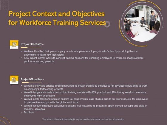 Job Driven Training Project Context And Objectives For Workforce Training Services Ppt Show Brochure PDF