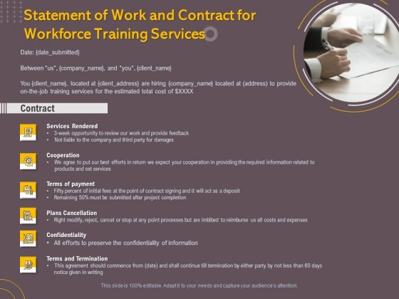 Job Driven Training Statement Of Work And Contract For Workforce Training Services Ppt Slides Graphics PDF
