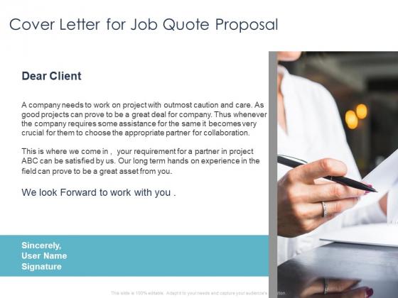 Job Estimate Cover Letter For Job Quote Proposal Ppt Ideas Clipart Images PDF