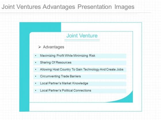 Joint Ventures Advantages Presentation Images