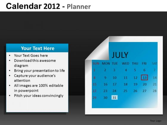 July 2012 Calendar PowerPoint Slides