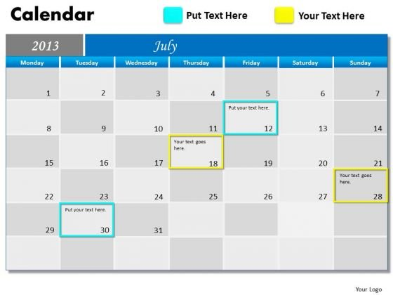 July 2013 Calendar PowerPoint Slides Ppt Templates