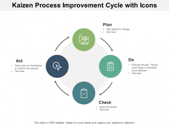 Kaizen Process Improvement Cycle With Icons Ppt PowerPoint Presentation Outline Slideshow