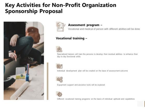 Key Activities For Non Profit Organization Sponsorship Proposal Done Microsoft PDF