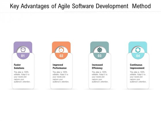 Key Advantages Of Agile Software Development Method Ppt PowerPoint Presentation Summary Slides PDF