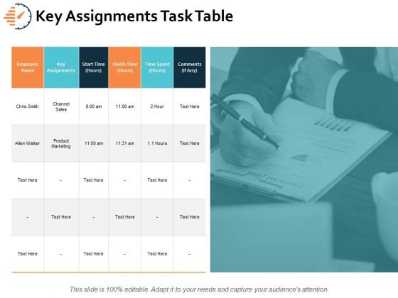 Key Assignments Task Table Ppt PowerPoint Presentation Inspiration Tips