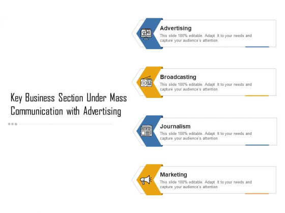 Key Business Section Under Mass Communication With Advertising Ppt PowerPoint Presentation Gallery Graphics Tutorials PDF