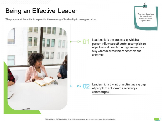 Key Competencies For Organization Authorities Being An Effective Leader Icons PDF
