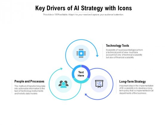Key Drivers Of AI Strategy With Icons Ppt PowerPoint Presentation Portfolio Graphics Tutorials