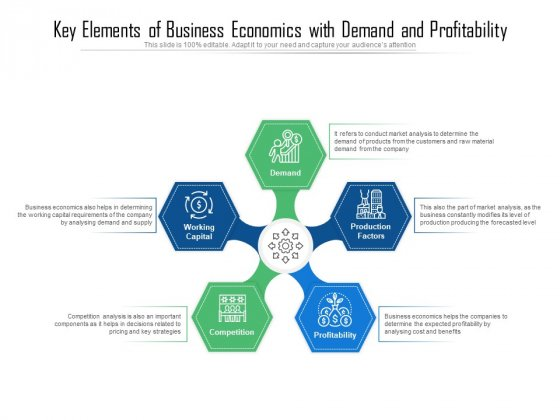 Key Elements Of Business Economics With Demand And Profitability Ppt PowerPoint Presentation Icon Slides PDF