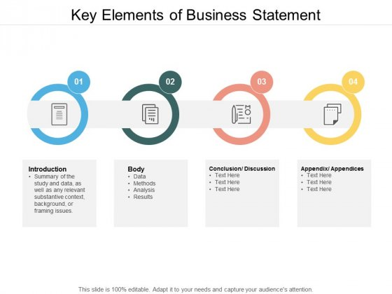 Key Elements Of Business Statement Ppt PowerPoint Presentation Slides Graphic Tips