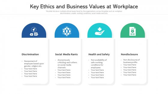 Key Ethics And Business Values At Workplace Ppt PowerPoint Presentation File Inspiration PDF