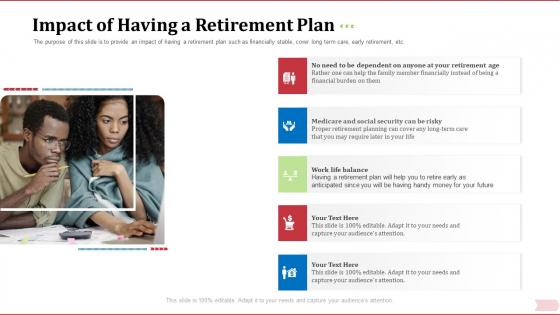 Key Factor In Retirement Planning Impact Of Having A Retirement Plan Ppt Summary Portrait PDF