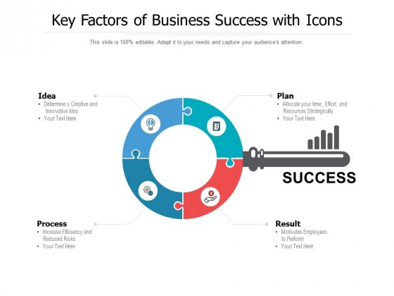 Key Factors Of Business Success With Icons Ppt PowerPoint Presentation Inspiration Tips