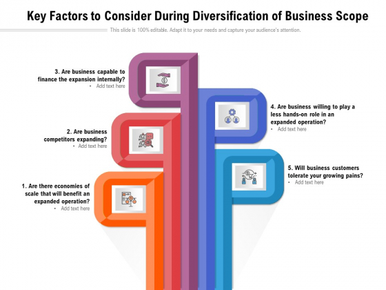 Key Factors To Consider During Diversification Of Business Scope Ppt PowerPoint Presentation Gallery Example File PDF