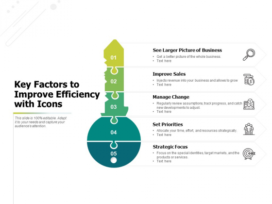 Key Factors To Improve Efficiency With Icons Ppt PowerPoint Presentation Icon Layout Ideas