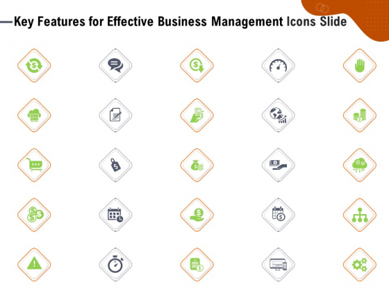 Key Features For Effective Business Management Icons Slide Ppt Inspiration Files PDF