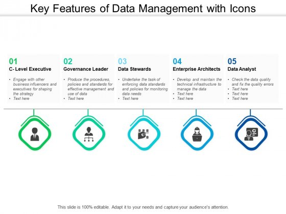 Key Features Of Data Management With Icons Ppt PowerPoint Presentation Slides Example Introduction