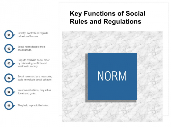 Key Functions Of Social Rules And Regulations Ppt PowerPoint Presentation File Files PDF