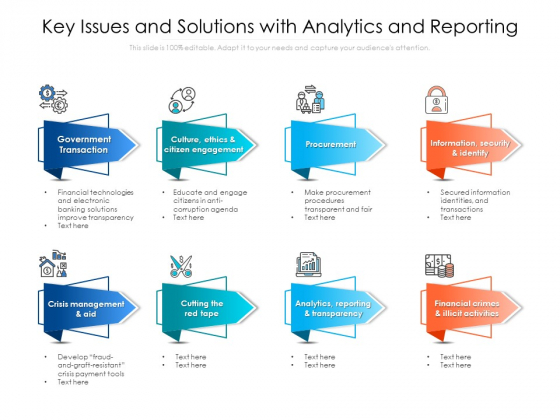 Key Issues And Solutions With Analytics And Reporting Ppt PowerPoint Presentation Icon Diagrams PDF