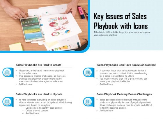 Key Issues Of Sales Playbook With Icons Ppt PowerPoint Presentation File Objects PDF