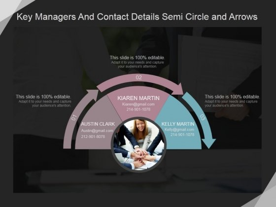 Key Managers And Contact Details Semi Circle And Arrows Ppt PowerPoint Presentation Professional