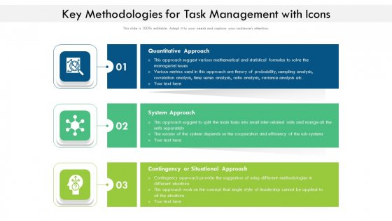 Key Methodologies For Task Management With Icons Ppt Portfolio Objects PDF
