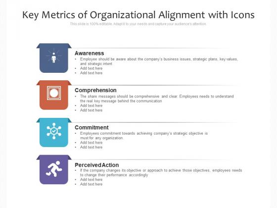 Key Metrics Of Organizational Alignment With Icons Ppt PowerPoint Presentation Inspiration Portrait PDF