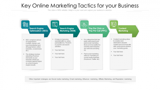 Key Online Marketing Tactics For Your Business Ppt Summary Styles PDF