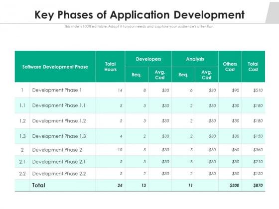 Key Phases Of Application Development Ppt PowerPoint Presentation Professional Elements PDF